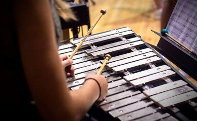 Alumnos tocando instrumentos de percusión