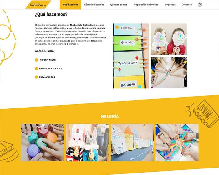 Diseño web para Alginet English Center